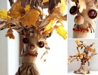 1412943746 baaf483d40 Поробки з природного матеріалу   Дерево з паперу і листя дуба