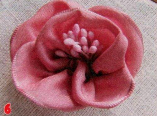 Троянда брошка зі стрічок своїми руками.