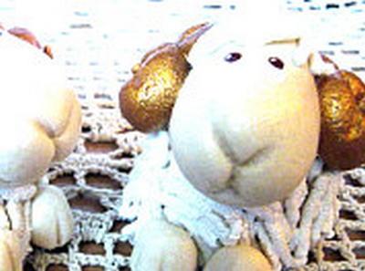 Ліплення з солоного тіста: новорічні баранці.