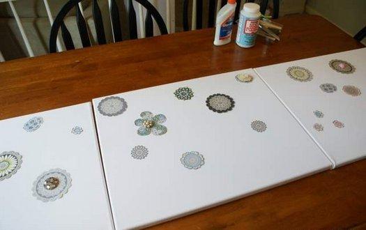 Робимо декоративне панно з тканини і тасьми.