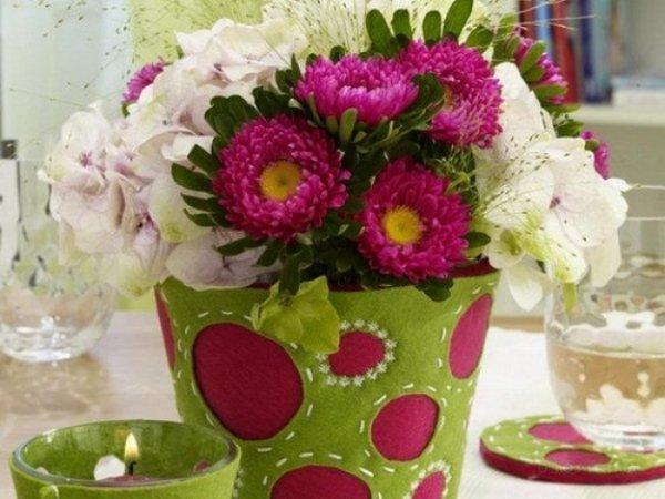Декор скляної вази фетром