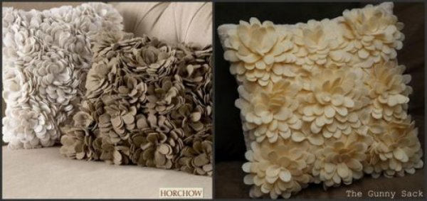 Декоруємо подушку квіткою з фетру