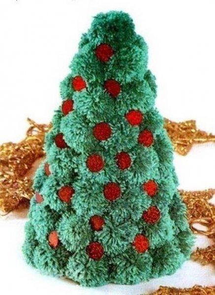 Як зробити новорічну ялинку з помпонів.
