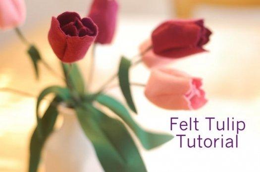Тюльпани з фетру, докладний майстер клас.