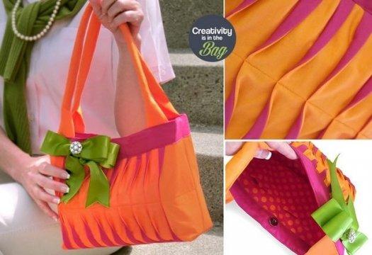 Яскрава сумка зі складками своїми руками.