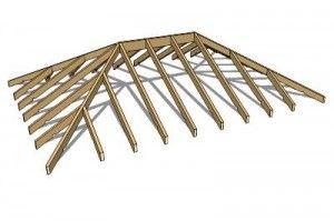 Монтаж кроквяної системи чотирисхилим вальмового даху