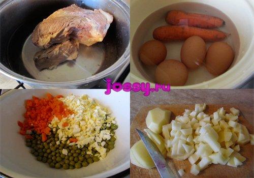Новорічний м\ясний салат зі смаженою картоплею