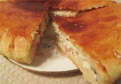 Пиріг сирно–сирну   рецепт з шинкою і зеленню