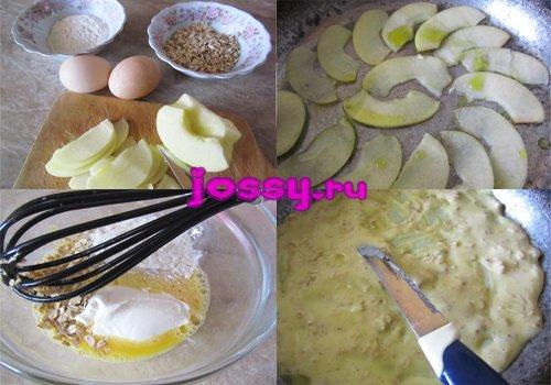 Рецепт омлету з яблуками і вівсяними пластівцями