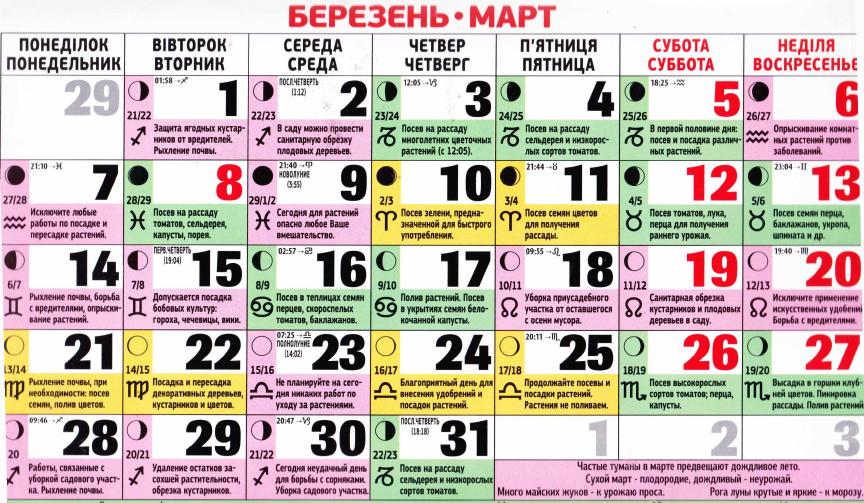 Посівний календар на березень 2016 року Україна