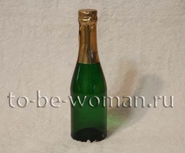 Декупаж пляшки шампанського до Нового Року 2016 і Різдва