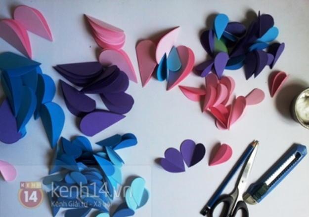 Поделки из бумаги цветочки сердечки 74