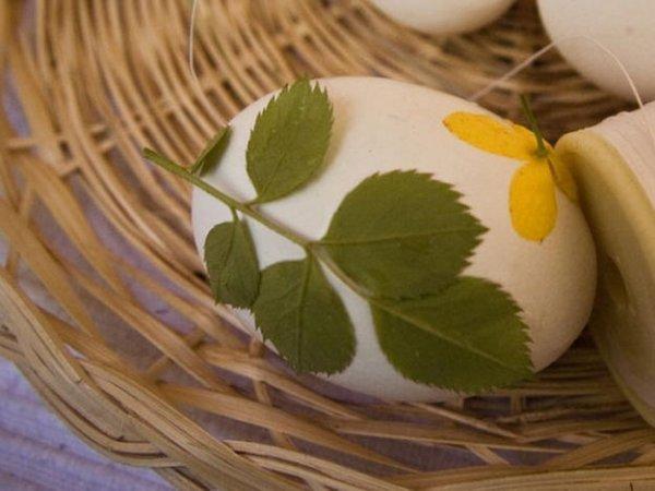 Фарбуємо великодні яйця в цибулинні з візерунками із зелені.