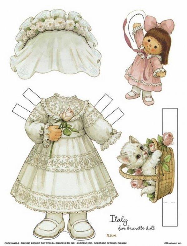 Лялечки з паперу і гардероб для них.