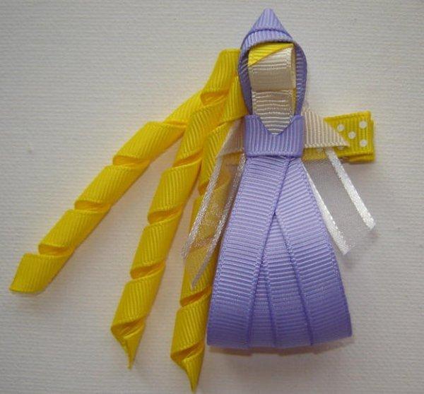 Забавні ідеї шпильок для волосся з репсовых стрічок.