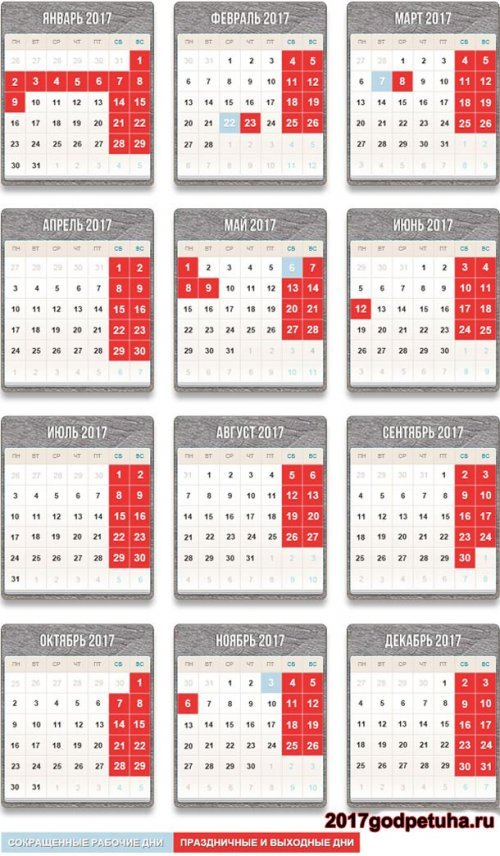 Виробничий календар 2017 року