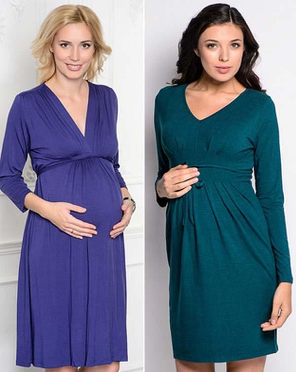 Тёплое платье для беременных 413