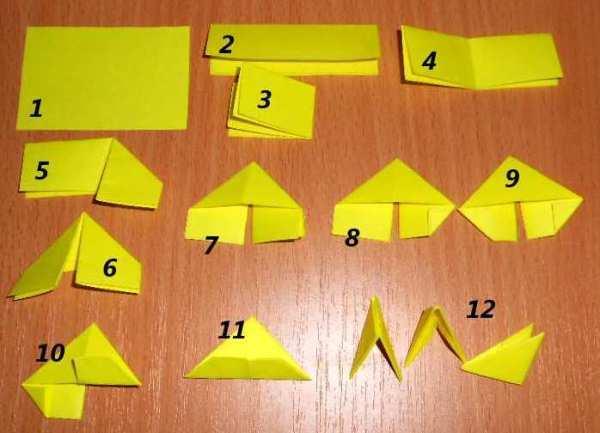 Треугольный модуль оригами схемы ваза