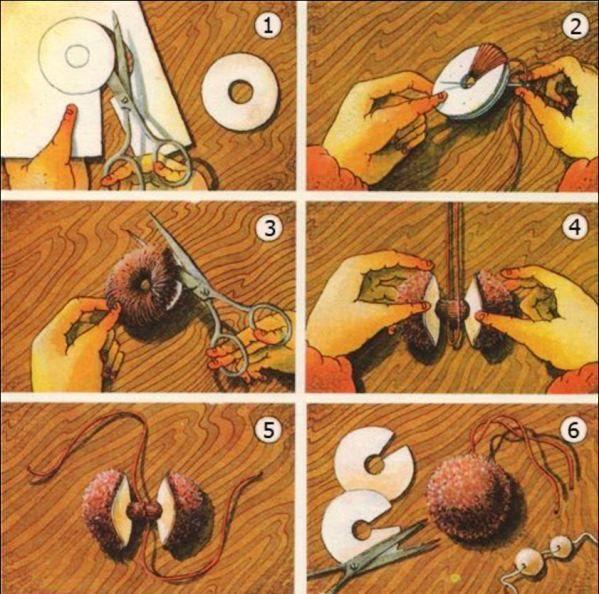 Как из ниток сделать пумпон