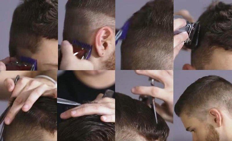 Классическая канадка пошагово стандартный вариант — объем на верхней части головы, постепенно уменьшающийся ото лба к теменному сектору, волосы минимальной длины в области висков и затылка.